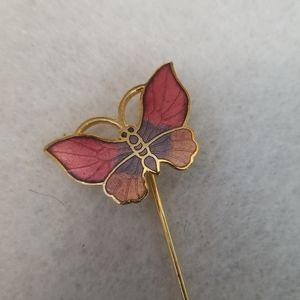 PINK ENAMEL BUTTERFLY lapel stick pin